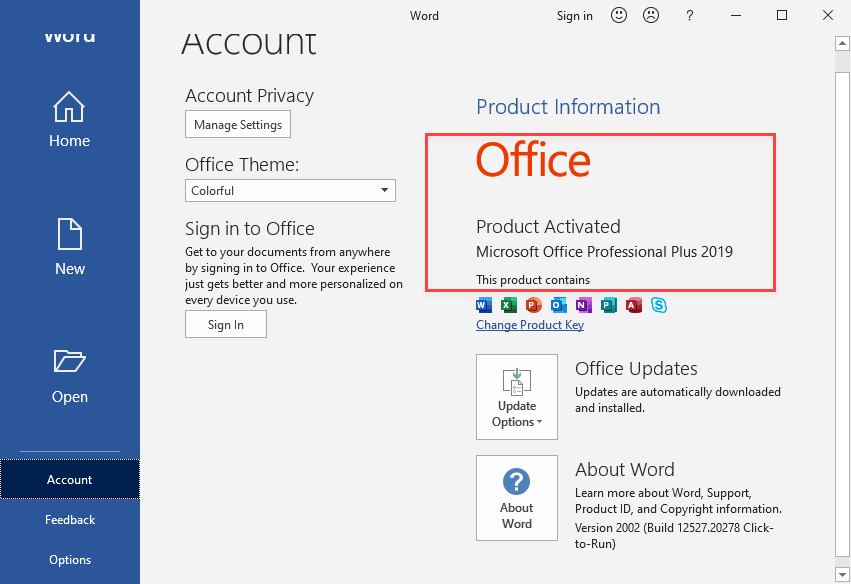 Activate Microsoft Office 2019