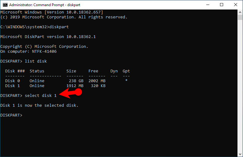 Format USB Flash Drive from Command Prompt