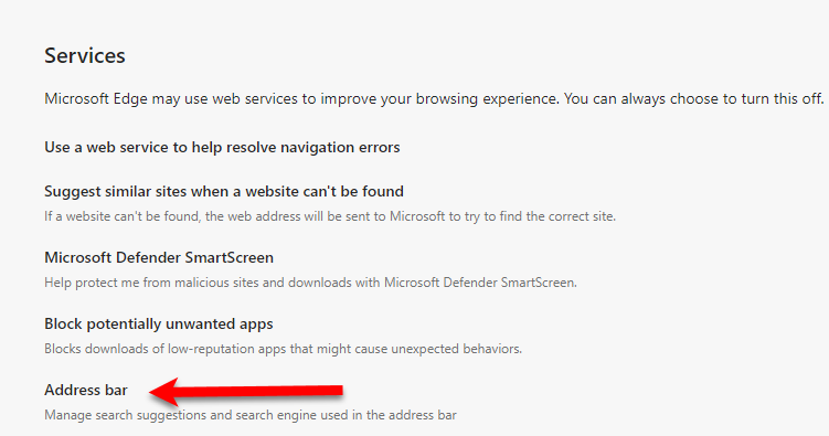 Change the Default Search Engine in Microsoft Edge