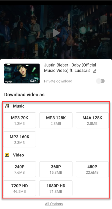 Download YouTube Videos using Snaptube