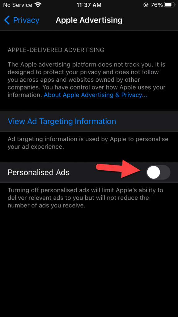 Block Apple Ad Tracking on iPhone